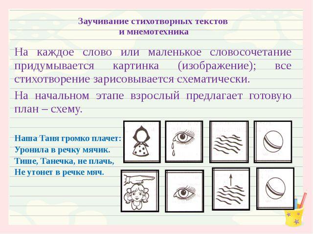 Заучивание стихотворных текстов и мнемотехника На каждое слово или маленькое...