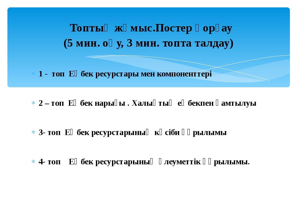 1 - топ Еңбек ресурстары мен компоненттері 2 – топ Еңбек нарығы . Халықтың ең...