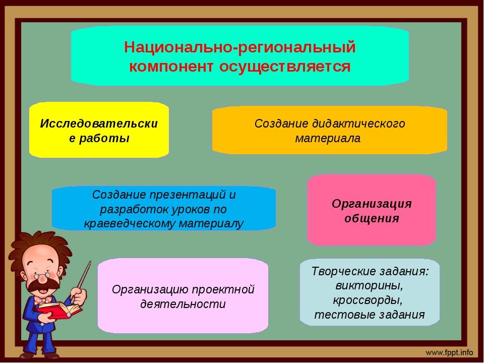 Национально-региональный компонент осуществляется Исследовательские работы Со...