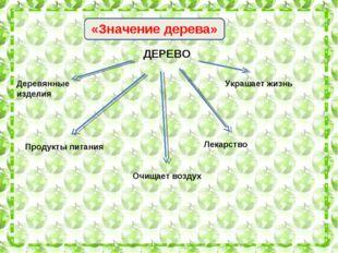 ЗЗ «Значение дерева» ДЕРЕВО Деревянные изделия Продукты питания Очищает возду