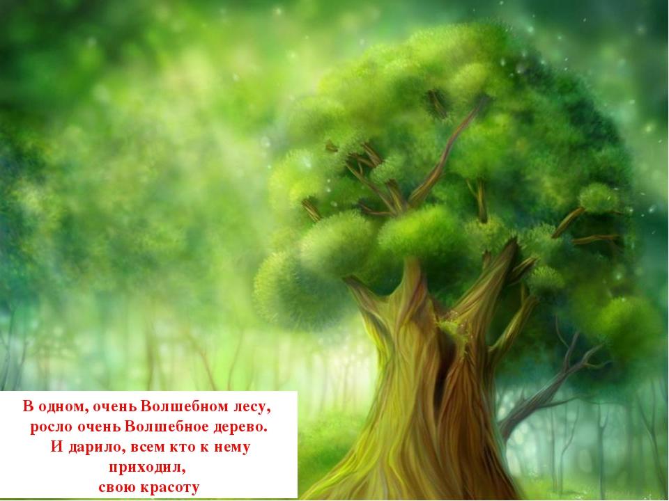 В одном, очень Волшебном лесу, росло очень Волшебное дерево. И дарило, всем к...