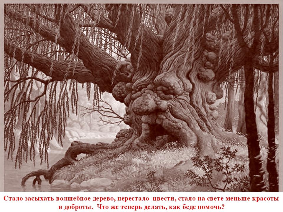 Стало засыхать волшебное дерево, перестало цвести, стало на свете меньше крас...