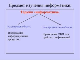 Предмет изучения информатики. Термин «информатика» Как научная область Как пр