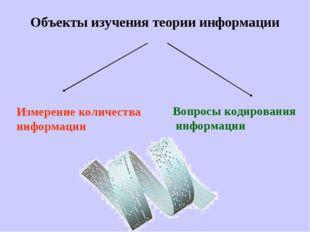 Объекты изучения теории информации Измерение количества информации Вопросы ко