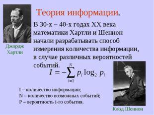 Теория информации. В 30-х – 40-х годах XX века математики Хартли и Шеннон на