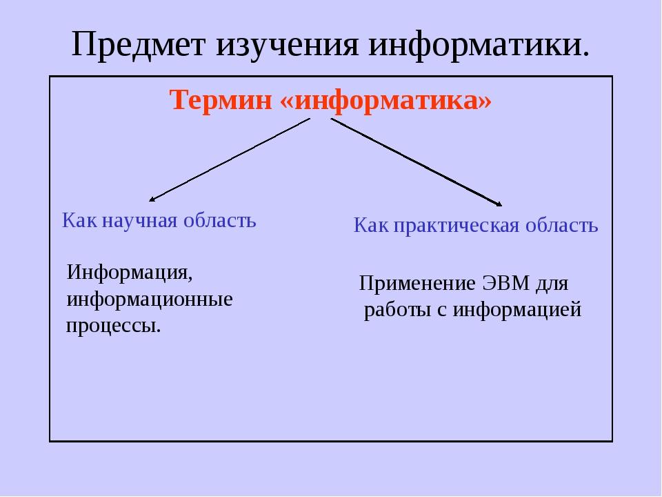 Предмет изучения информатики. Термин «информатика» Как научная область Как пр...