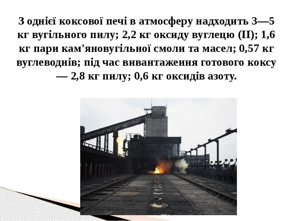 З однієї коксової печі в атмосферу надходить 3—5 кг вугільного пилу; 2,2 кг о...