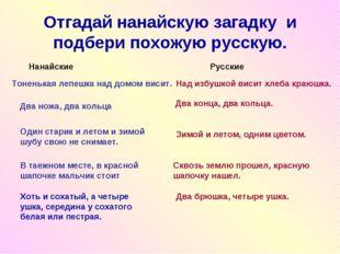 Отгадай нанайскую загадку и подбери похожую русскую. Тоненькая лепешка над до