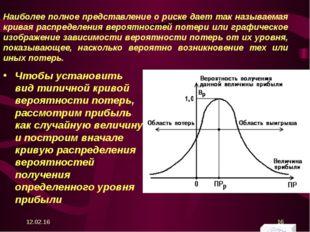 Наиболее полное представление о риске дает так называемая кривая распределени