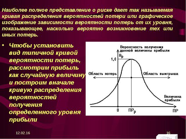 Наиболее полное представление о риске дает так называемая кривая распределени...