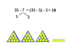 35 - 7 = (35 - 5) - 2 5 2 = 28
