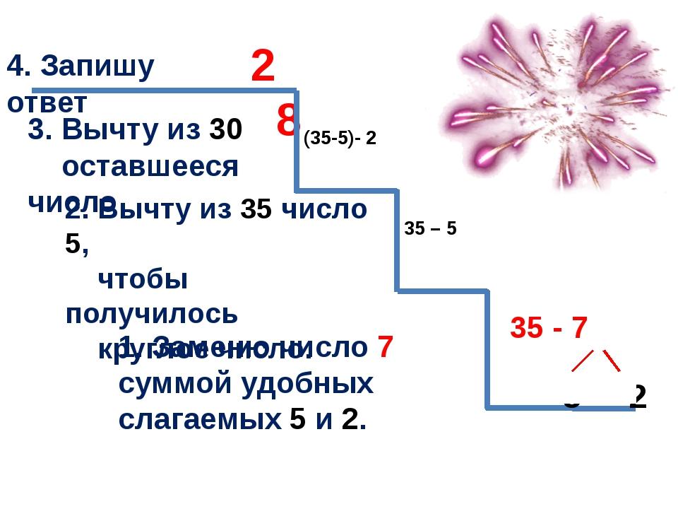 35 - 7 1. Заменю число 7 суммой удобных слагаемых 5 и 2. 2. Вычту из 35 числ...
