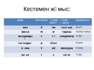 Кестемен жұмыс: шама белгіленуі Өлшем бірлігі Өлшеу құралы формуласы жол S км