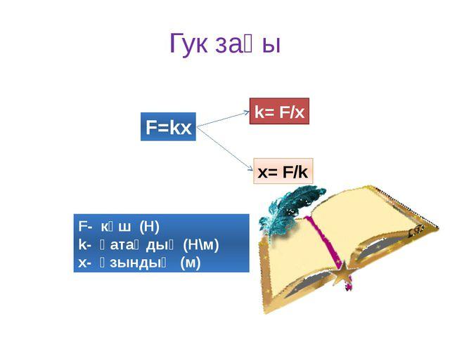 Гук заңы F=kx k= F/x x= F/k F- күш (Н) k- қатаңдық (Н\м) x- ұзындық (м)