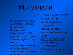 Мы узнали: В России о футуризме объявили Д.Бурлюк, В.Хлебников, В.Каменский,