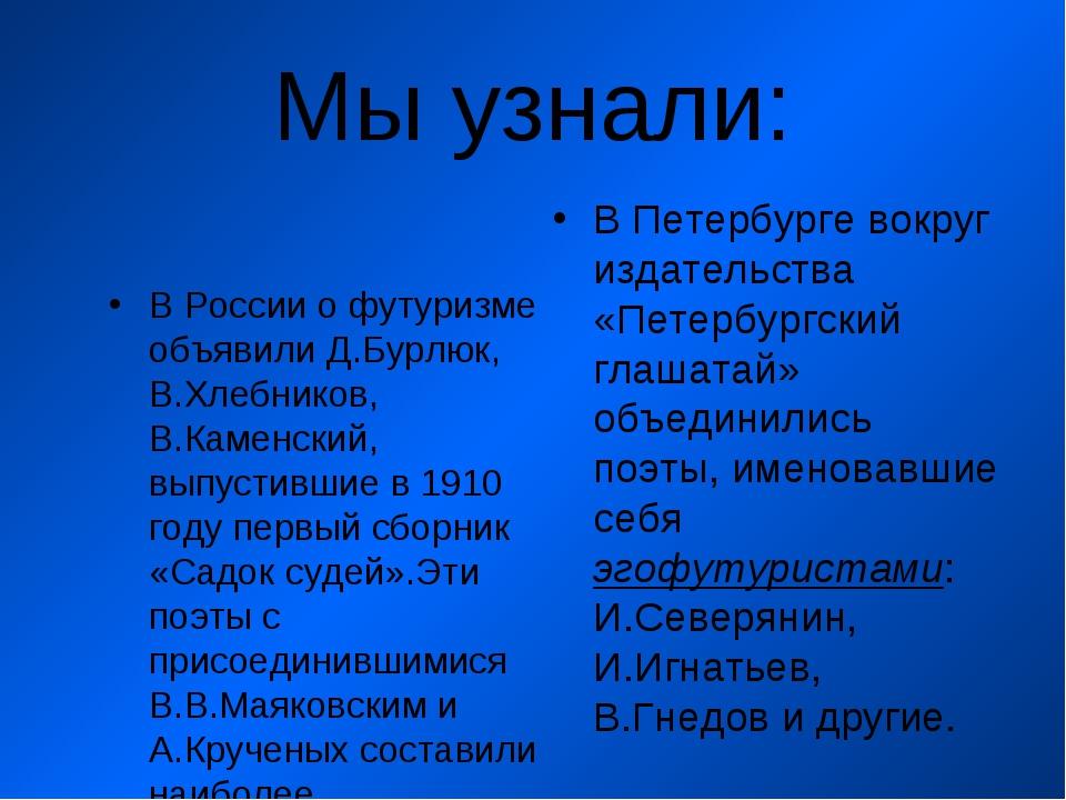 Мы узнали: В России о футуризме объявили Д.Бурлюк, В.Хлебников, В.Каменский,...