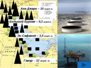 Гавар - 12 млрд. т. Эс-Сафания – 3,5 млрд. т. Большой Бурган – 9,3 млрд.т Ага
