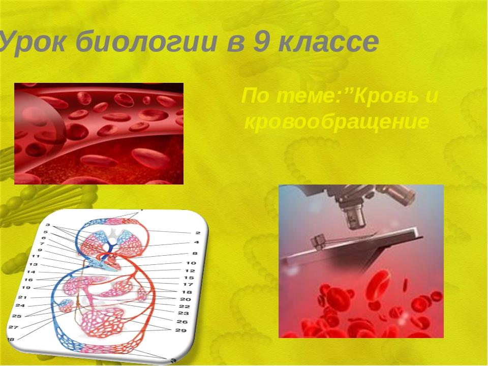 Урок биологии в 9 классе По теме:''Кровь и кровообращение