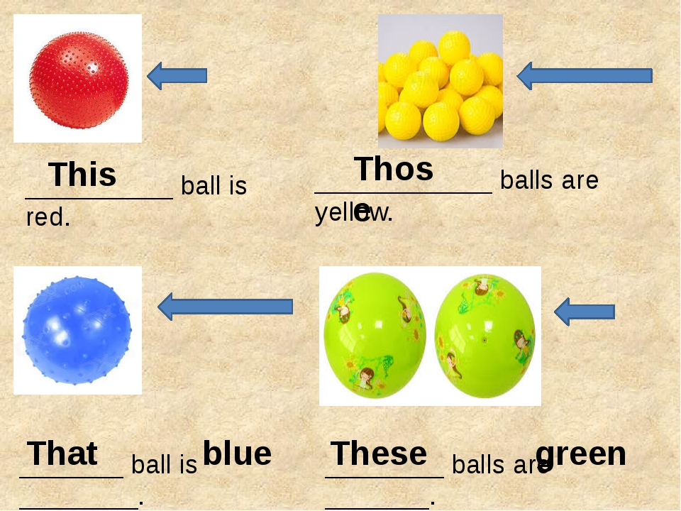 __________ ball is red. ____________ balls are yellow. _______ ball is _____...
