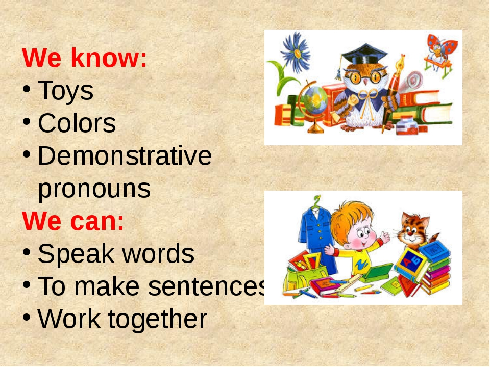 We know: Toys Colors Demonstrative pronouns We can: Speak words To make sente...