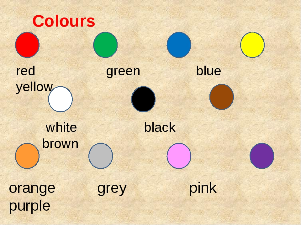 Colours red green blue yellow white black brown orange grey pink purple
