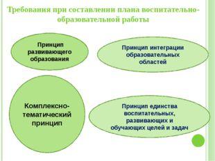 Требования при составлении плана воспитательно-образовательной работы Принцип