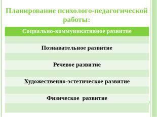 Планирование психолого-педагогической работы: Социально-коммуникативное разви