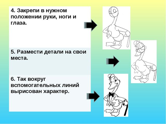 4. Закрепи в нужном положении руки, ноги и глаза. 5. Размести детали на свои...
