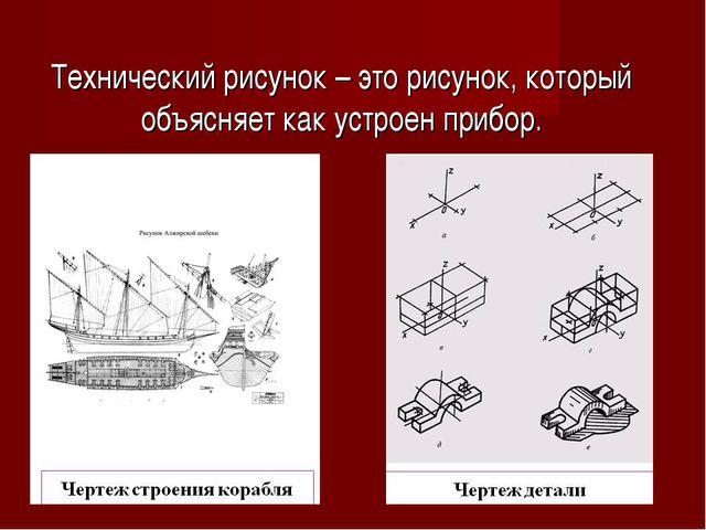 Технический рисунок – это рисунок, который объясняет как устроен прибор.