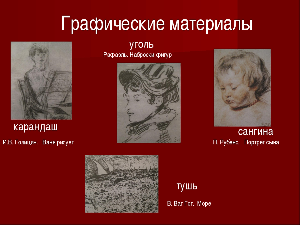 Графические материалы карандаш И.В. Голицин. Ваня рисует Рафаэль. Наброски фи...