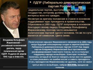 ЛДПР (Либерально-демократическая партия России) – радикальная партия, выступа