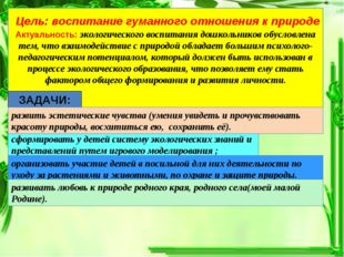 Цель: воспитание гуманного отношения к природе Актуальность: экологического