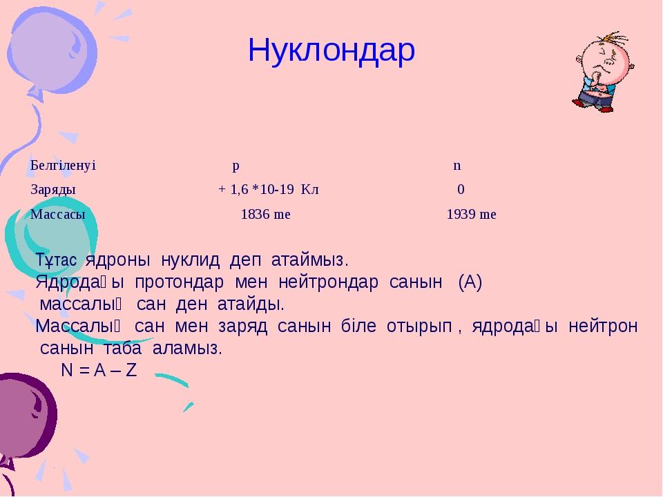 Нуклондар Тұтас ядроны нуклид деп атаймыз. Ядродағы протондар мен нейтрондар...