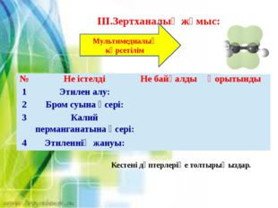 ІІІ.Зертханалық жұмыс: Мультимедиалық көрсетілім Кестені дәптерлеріңе толтыры