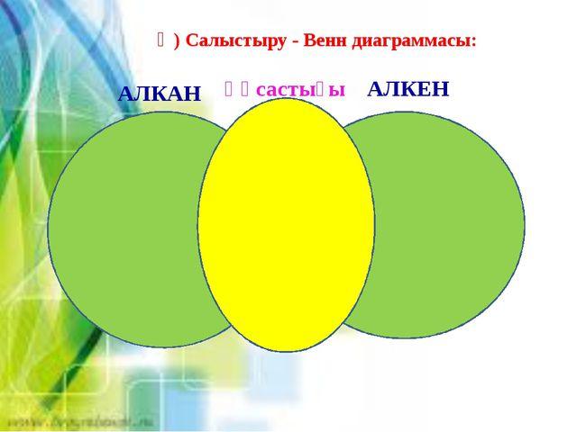 Ә) Салыстыру - Венн диаграммасы: АЛКАН АЛКЕН Ұқсастығы