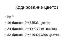 Кодирование цветов N=2i 16-битное, 216=65536 цветов 24-битное, 224=16777216 ц