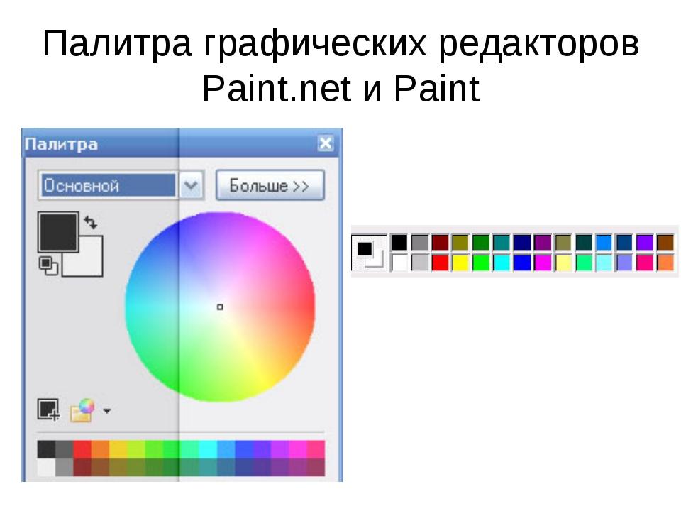 Палитра графических редакторов Paint.net и Paint