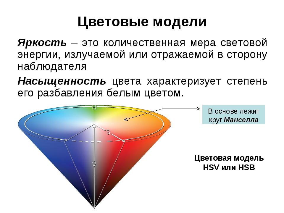 Цветовые модели Яркость – это количественная мера световой энергии, излучаемо...