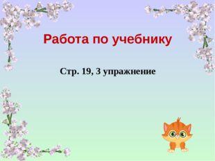 Работа по учебнику Стр. 19, 3 упражнение