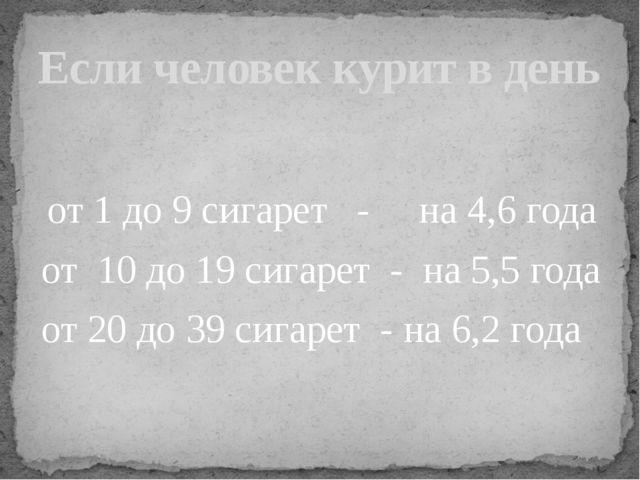 от 1 до 9 сигарет - на 4,6 года от 10 до 19 сигарет - на 5,5 года от 20 до 3...