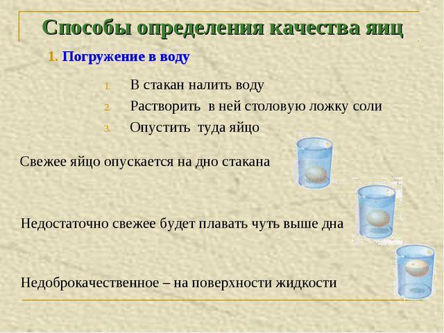 Способы определения качества яиц В стакан налить воду Растворить в ней столов...