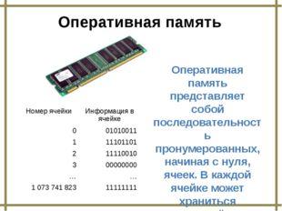 Оперативная память Оперативная память представляет собой последовательность п