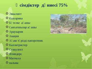 Өсімдіктер дүниесі 75% Эвкалипт Казуарина Бөтелке ағашы Саяхатшылар ағашы Ар