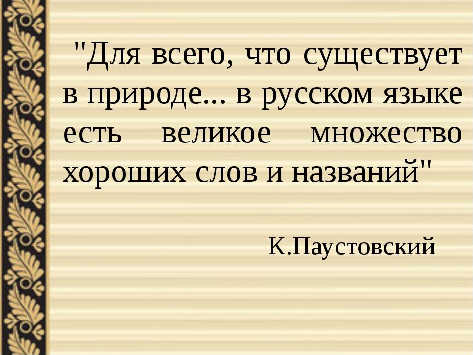 """""""Для всего, что существует в природе... в русском языке есть великое множест..."""