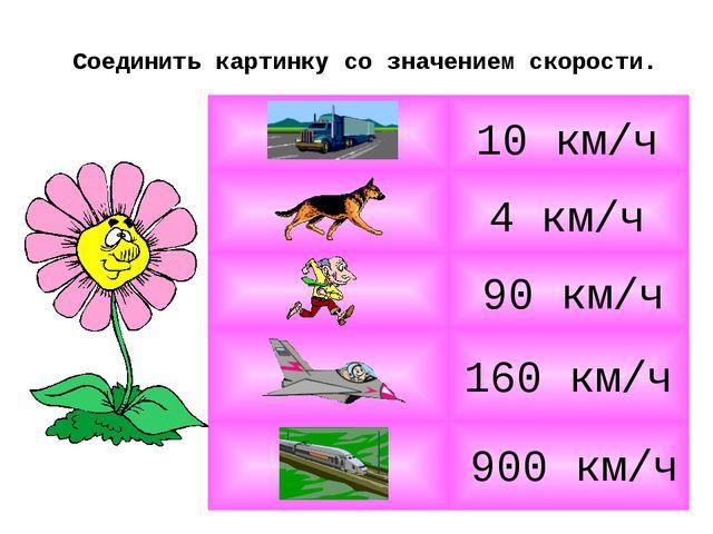 Соединить картинку со значением скорости. 4 км/ч 10 км/ч 900 км/ч 90 км/ч 160...