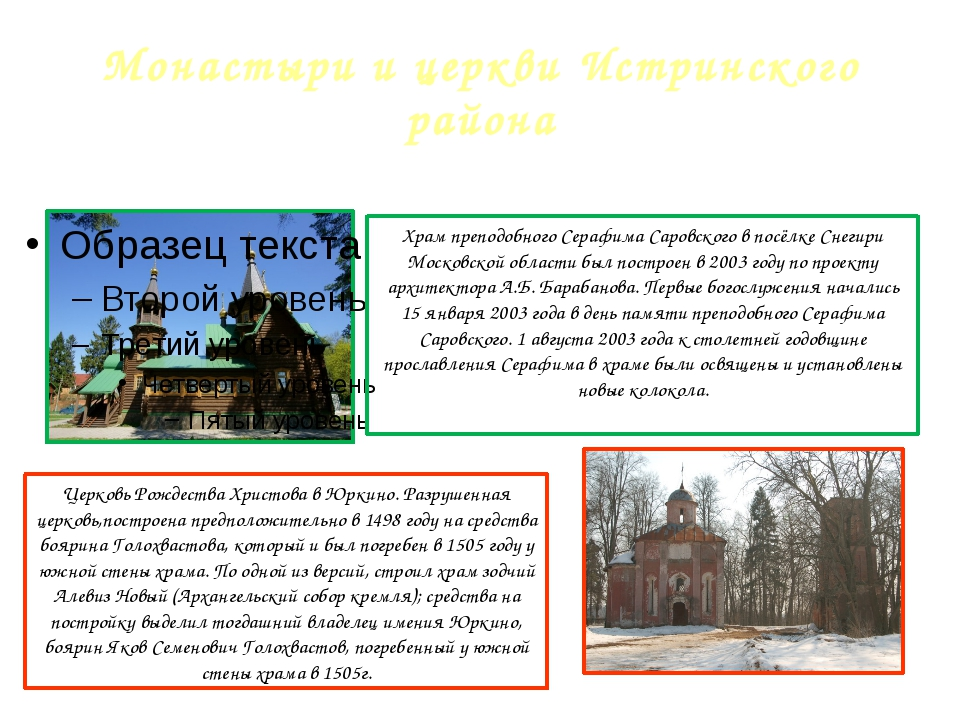 Монастыри и церкви Истринского района Храм преподобного Серафима Саровского в...