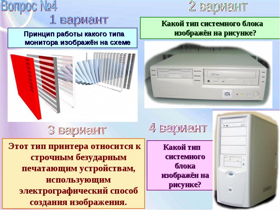 Принцип работы какого типа монитора изображён на схеме Какой тип системного...