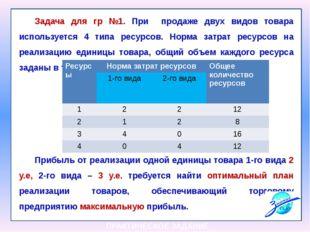Задача для гр №1. При продаже двух видов товара используется 4 типа ресурсов