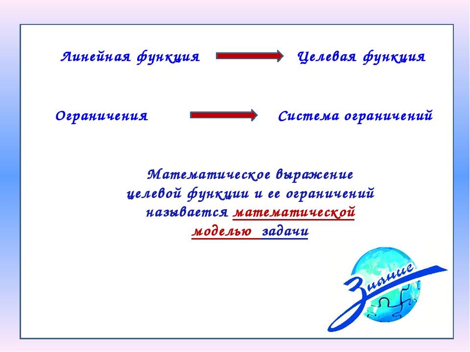 Математическое выражение целевой функции и ее ограничений называется математи...