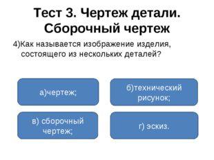 Тест 3. Чертеж детали. Сборочный чертеж 4)Как называется изображение изделия,